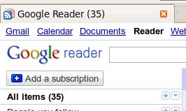 Google Reader 35 mensajes nuevos